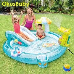Été gonflable parc aquatique enfants maison jardin Fun pelouse diapositives piscines Crocodile Spray eau arroseur pour bébé natation jouer