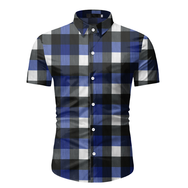 Red Plaid Shirt Men 2020 Summer Brand Classic Short Sleeve Dress Shirt Casual Button Down Office Workwear Chemise Homme M-3XL 2