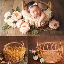 Newborn Photography Accessories Round Vine Woven Basket Baby Photo Shoot Prop Baby Souvenirs Studio Fotografie Props