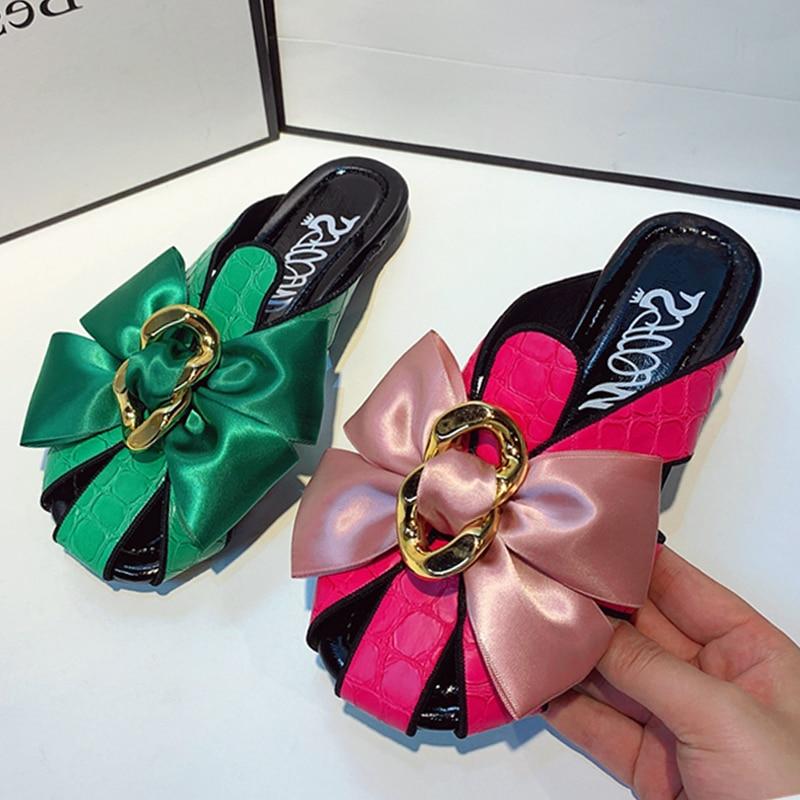 Сандалии женские в римском стиле, повседневные шлепанцы с бантом, Нескользящие, плоская подошва, летняя обувь, 2021