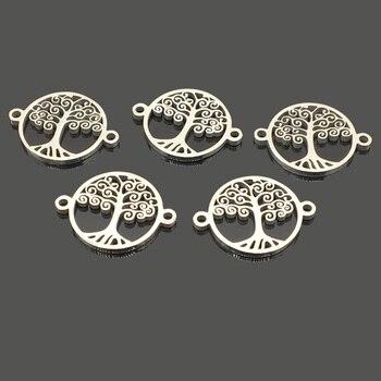 10 Uds nuevo árbol de la vida Acero inoxidable pulsera de deseos encanto dos agujero de acero inoxidable del encanto DIY Fabricación de collares y pulseras