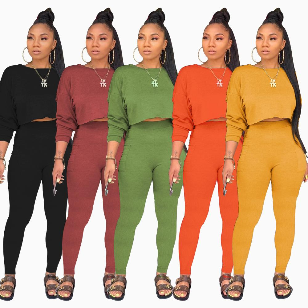 Adogirl Women Fashion Casual Two Piece Set Long Sleeve Crop Top Pencil Pants Female Tracksuit
