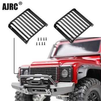 AJRC 2Pcs TRX4 Defender Metal Front Lamp Guards Headlight Cover Guard Grille for 1/10 RC Crawler Car Traxxas TRX-4 image