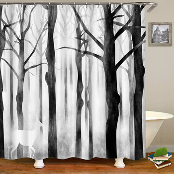 Waterproof Fabric Shower Curtains Tree leaves White Birch Bathroom Large 240X180 3D Print Decoration Shower Curtain Bath Screen image