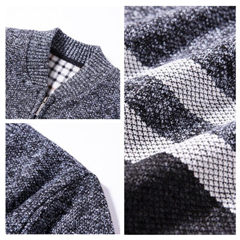 Korean Modis Men Winter Sweater Zipper Cardigan Warm Knitted Male Sweater Stripe Thick Top Overcoat Streetwear Men Sweater 5