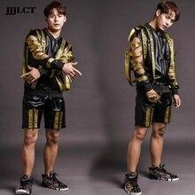 Motorcycle leather costumes men (shorts + jacket + vest) nightclub male singer DJ hip hop rock DS letter men's clothing