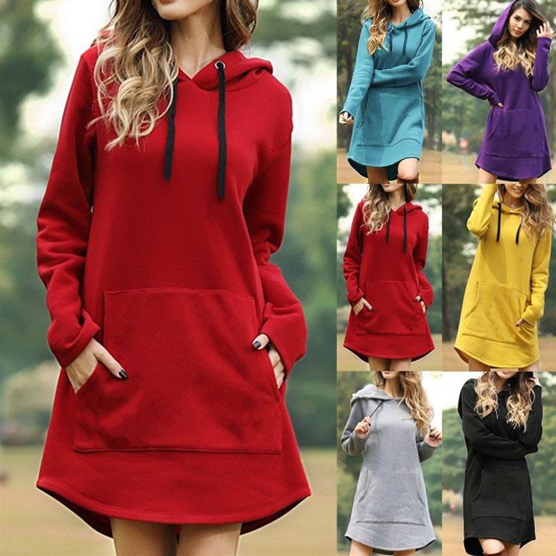 Casual Solid Color Hooded Womens Pocket Hoodies Tops For Spring Autumn 2020 Female New Fashion Long Sleeve Splice Long Hoodies