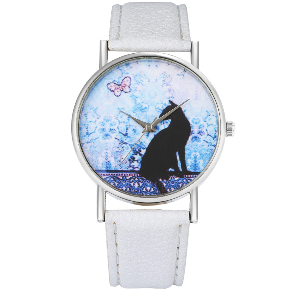 Ladies Watches Lovely Cat Analog Display Black/White/Blue Leather Strap Women's Casual Wrist Watch New Fashion Quartz Timepiece