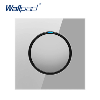 цена на 2019 Wallpad 1 Gang 2 Way Random Click Push Button Wall Light Switch With LED Indicator Grey Crystal Glass Panel 16A