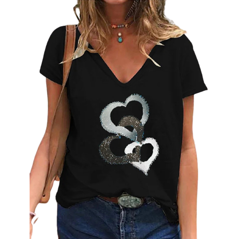 Summer Casual Fashion Top Women Print T-shirt V-neck Shirt Loose Blouse Clothes Plus Size Harajuku Shirts Tee