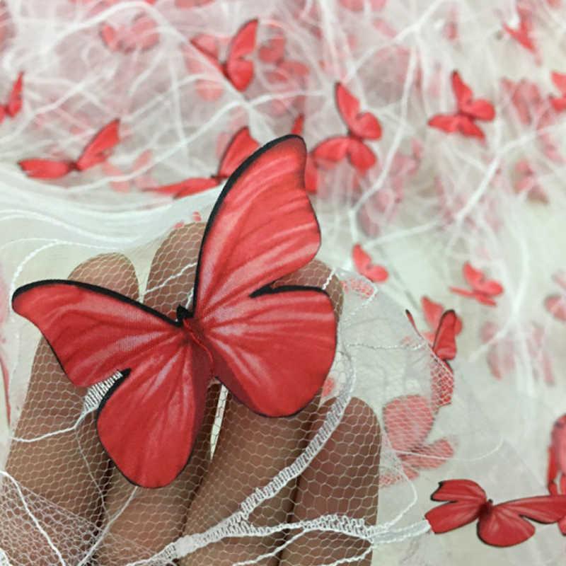 Neue Stil Breite 160cm Weiche Mesh 3D Schmetterling Spitze Stoff DIY Bekleidung Nähen Applique Material Stoffe Rock Mode Tuch d743