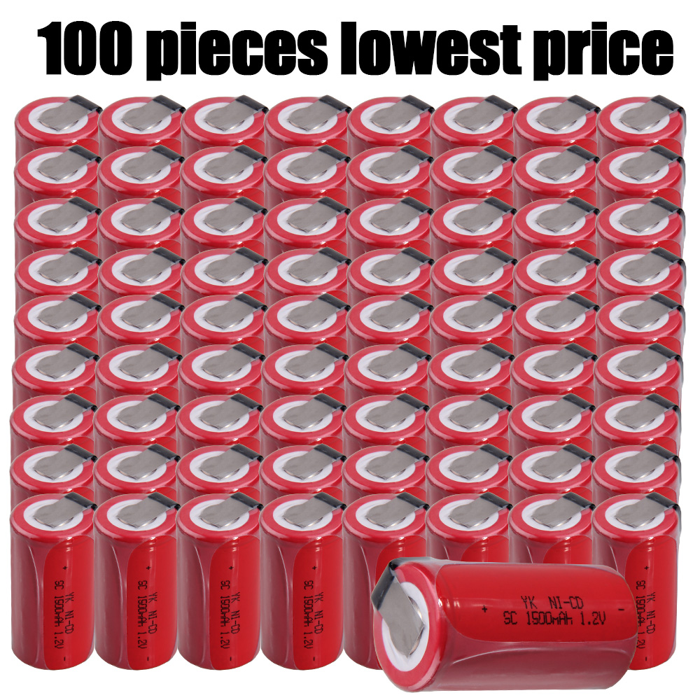 100 pièces 1500mAh akkus sub C batterie SC batteries plateau plat NICD 1.2V bande de soudure rechargeable pour perceuses sans fil pour B & D
