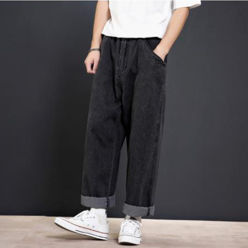 Men Loose Casual Wide Leg Jeans Male R Vintage Fashion Hip Hop Harem Straight Denim Pants Black Blue Cowboy Trousers