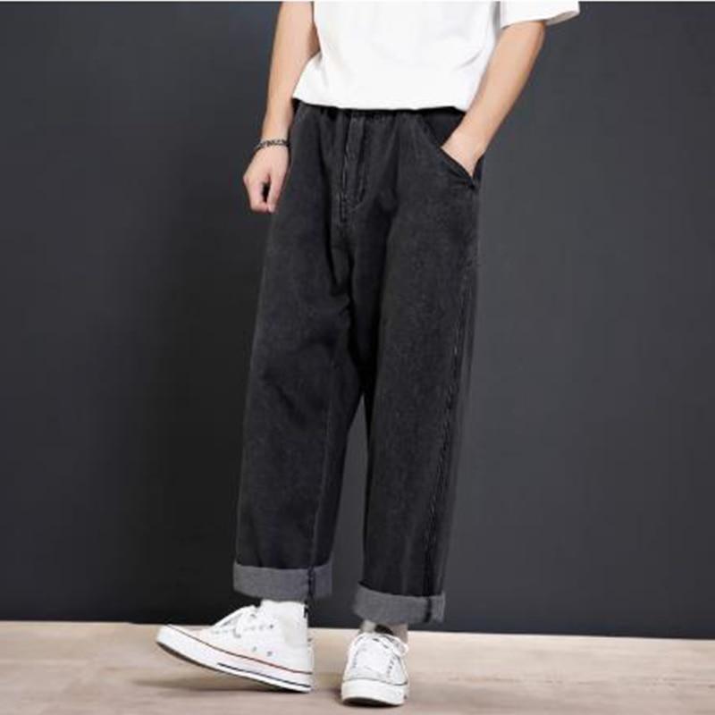 Men Loose Casual Wide Leg Jeans Male R Vintage Fashion Hip Hop Harem Straight Denim Pants Black Blue Cowboy Trousers