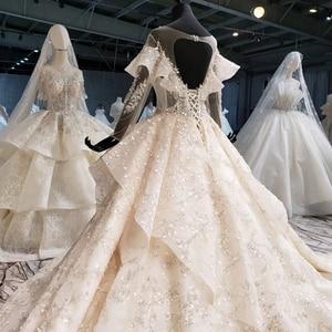 Image 4 - HTL1086 abito da sposa manica lunga della boemia del branello lucido di cristallo del merletto della principessa abito da sposa abito da sposa illusion платье свадебное