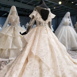 Image 4 - HTL1086 long sleeve wedding dress bohemian bead crystal shiny lace princess bridal dress wedding gown illusion платье свадебное