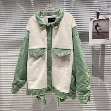 DEAT 2021 Winter Women New Fashion Lapel Long Sleeve Single Breasted Back Graffiti Plush Splicing Denim Streetwear Jacket RD650