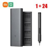 Xiaomi-destornillador eléctrico Mijia 1 + 24, Kit de herramientas de reparación de equipos de precisión, caja magnética recargable ajustable de varias velocidades