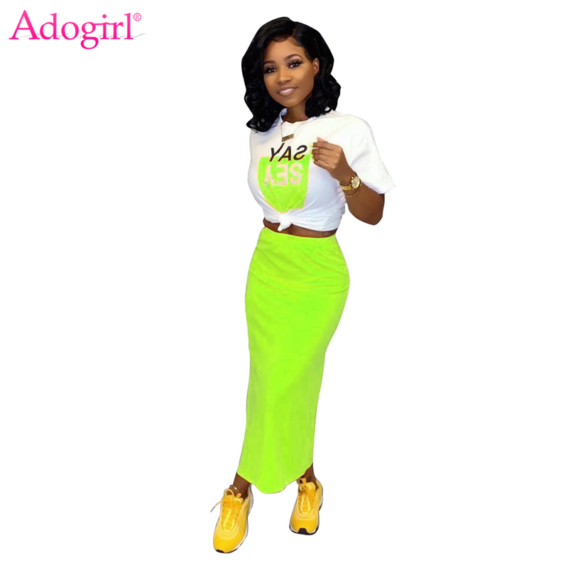 Adogirl Women Casual Two Piece Set Dress Letter Print Short Sleeve T Shirt Crop Top Side Slit Bodycon Maxi Skirt Fashion Suits