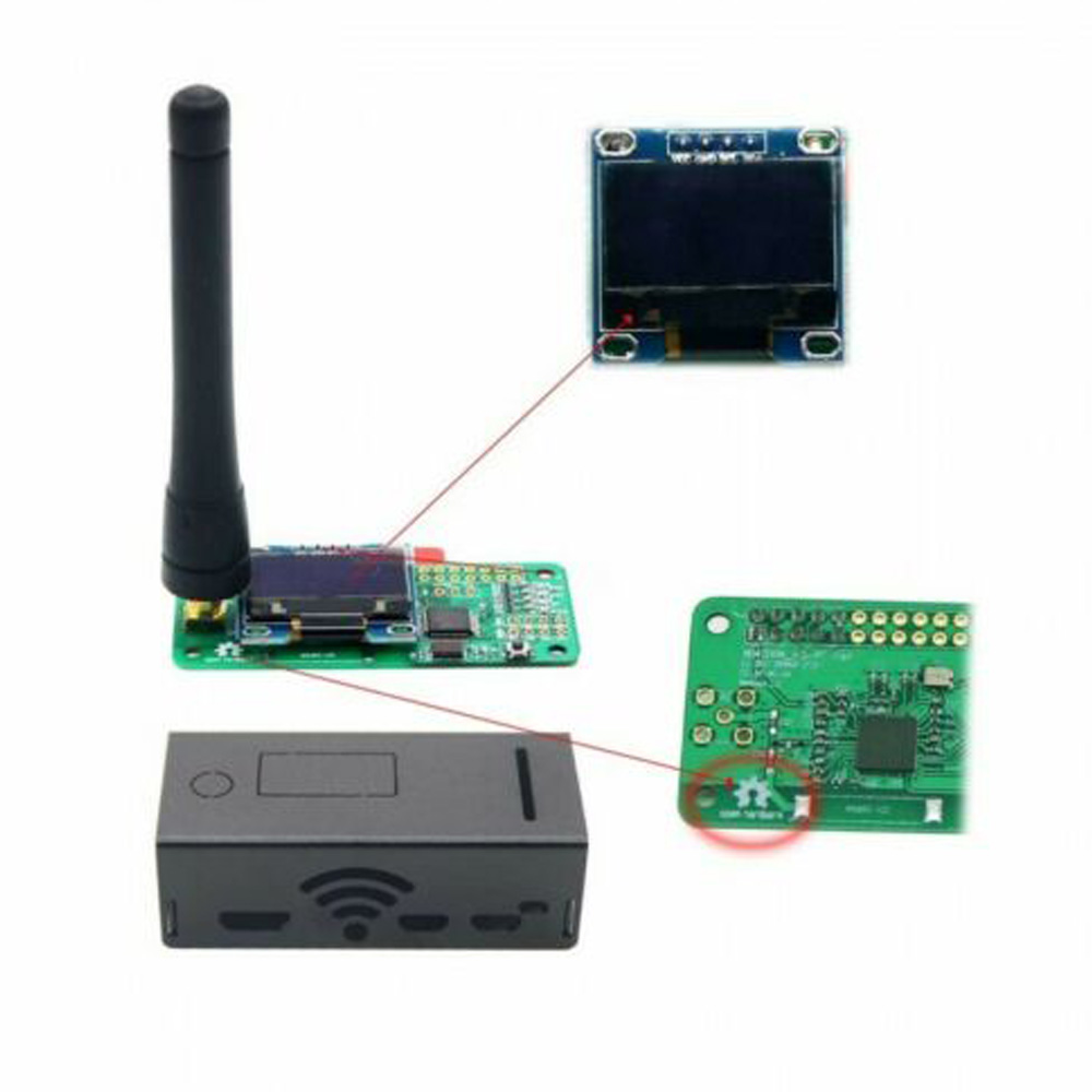 Assembled MMDVM Hotspot+OLED+Antenna Case Support P25 DMR YSF For Raspberry Pi