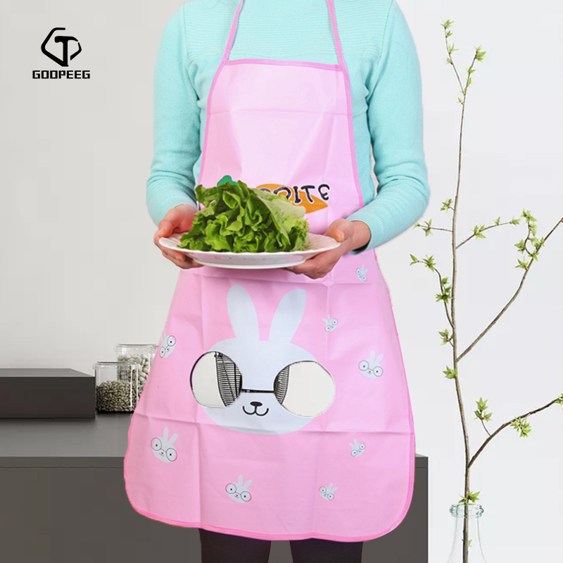 Cute Sleeveless Anime Translucent Kitchen Printing Clean Waterproof Antifouling Adult Cooking Baking Apron Children Apron