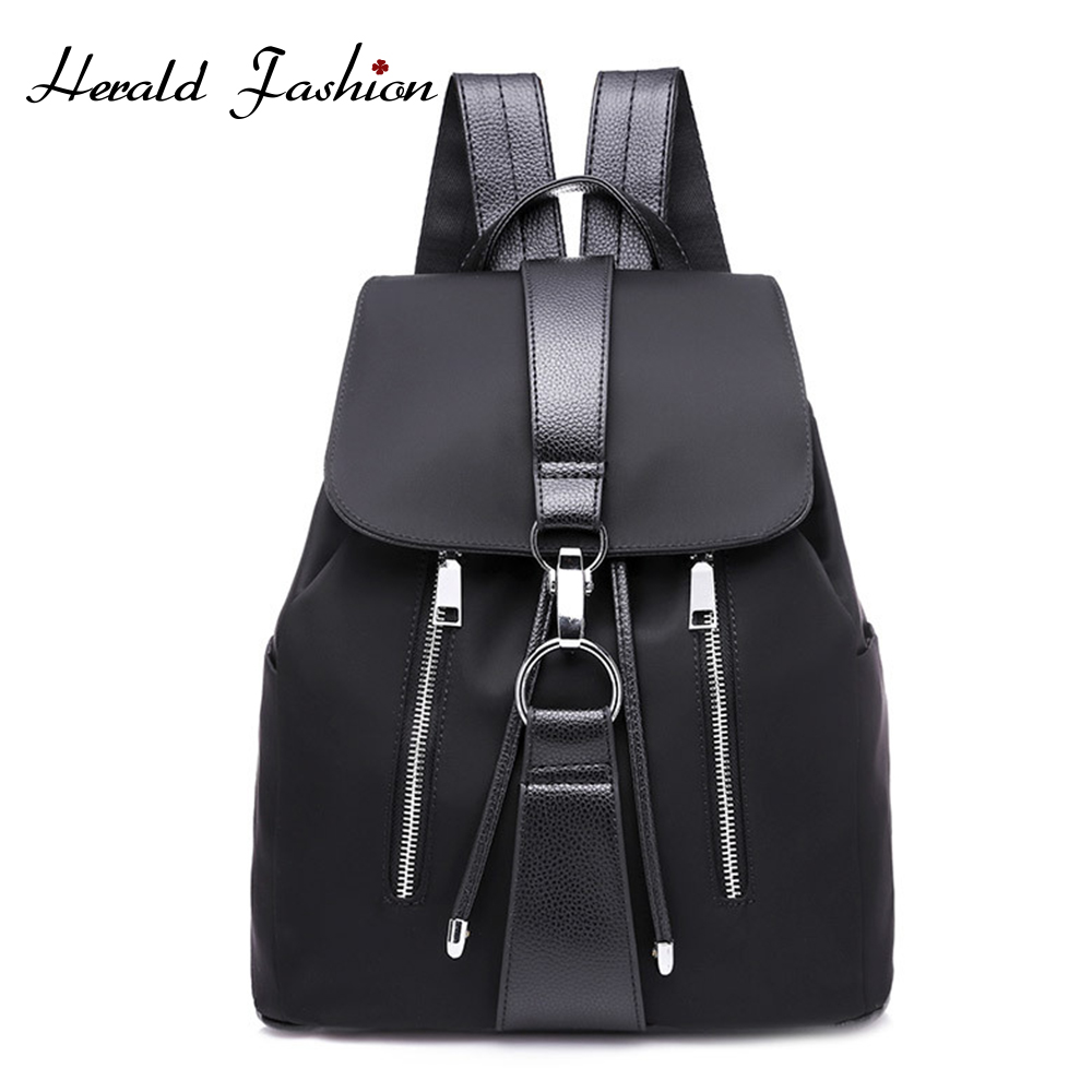 Anti-theft Nylon Women Backpack Female Fashion Casual Waterproof Patchwork Leather Bag Black School Backpacks Teenager For Girls