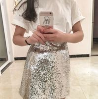 Silver Skirt A line Above Knee Mini Party Night Club Sexy Women Skirts Summer New Bling Sequins Hip Pack Fashion Skirt