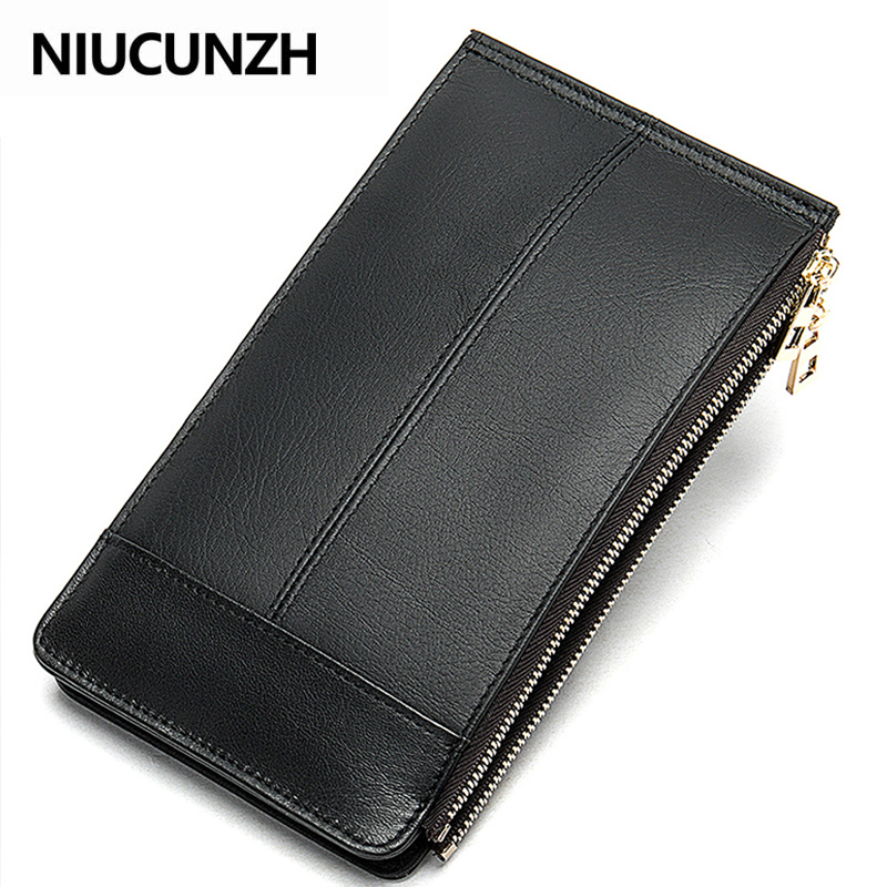 NIUCUNZH Double Zipper Many Departments Men Wallet Genuine Leather Male Wallets Card Holder Man Clutch Long Purse High Quality