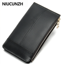 NIUCUNZH Double Zipper Many Departments Men Wallet Genuine Leather Male Wallets Card Holder
