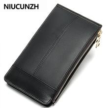 NIUCUNZH Double Zipper Many Departments Men Wallet Genuine L