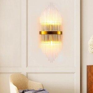 Image 3 - Moderna lampada da parete di cristallo oro sconce luci AC110V 220V moda di lusso lustro soggiorno camera da letto apparecchi di luce