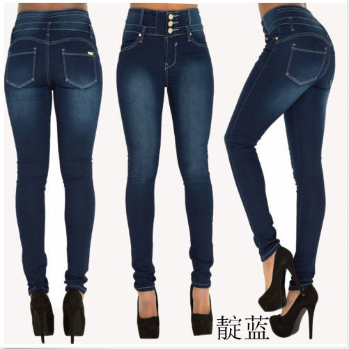 Good Quality European And American-Style New Style High-waisted Slim Fit Stretch Plus-sized Skinny Jeans Women's Hot Selling