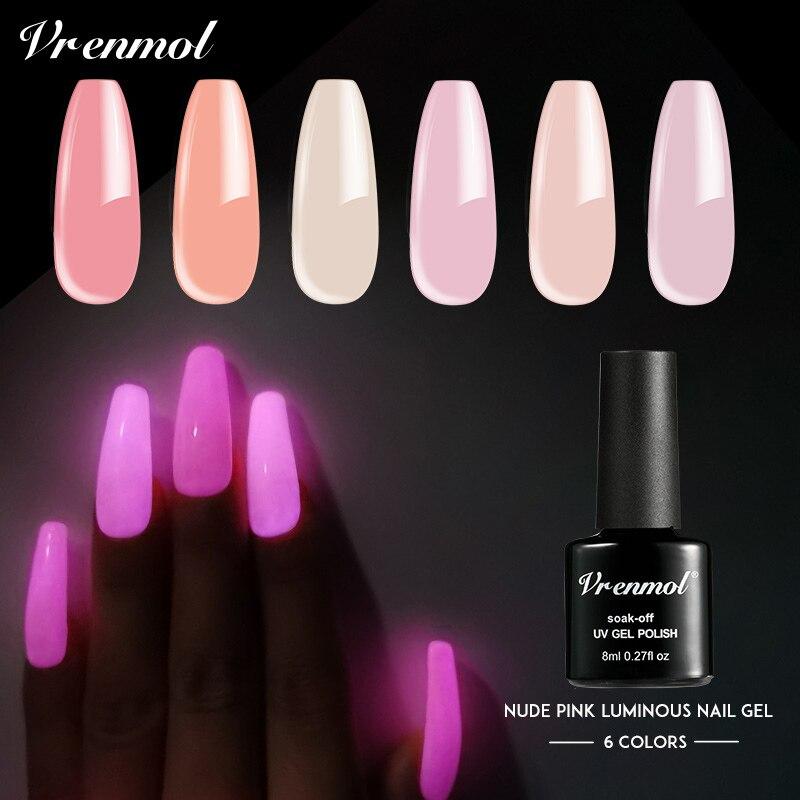 Vrenmol UV Gel Nail Polish Nude Pink Luminous Hybrid Gel Varnish Semi Permanent Glow In The Dark DIY Soak Off Gel Lak Polish