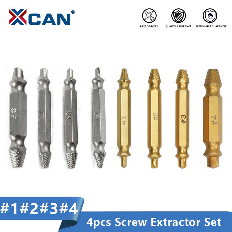 XCAN Rusak Sekrup Extractor 4Pcs Rusak Kecepatan Keluar Mudah Keluar Baut Stud Dilucuti Sekrup Remover Alat Bor Bit