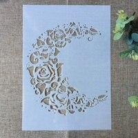 29*21 centímetros Lua Nova Flor Rosa DIY Camadas Template Stencils Pintura Coloração do Scrapbook Álbum de Gravação Cartão de Papel Decorativo