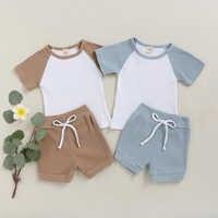 Hitomagic 2020 nova chegada crianças roupas do bebê meninas camiseta define verão meninos calças shorts retalhos com nervuras roupa da criança pijamas