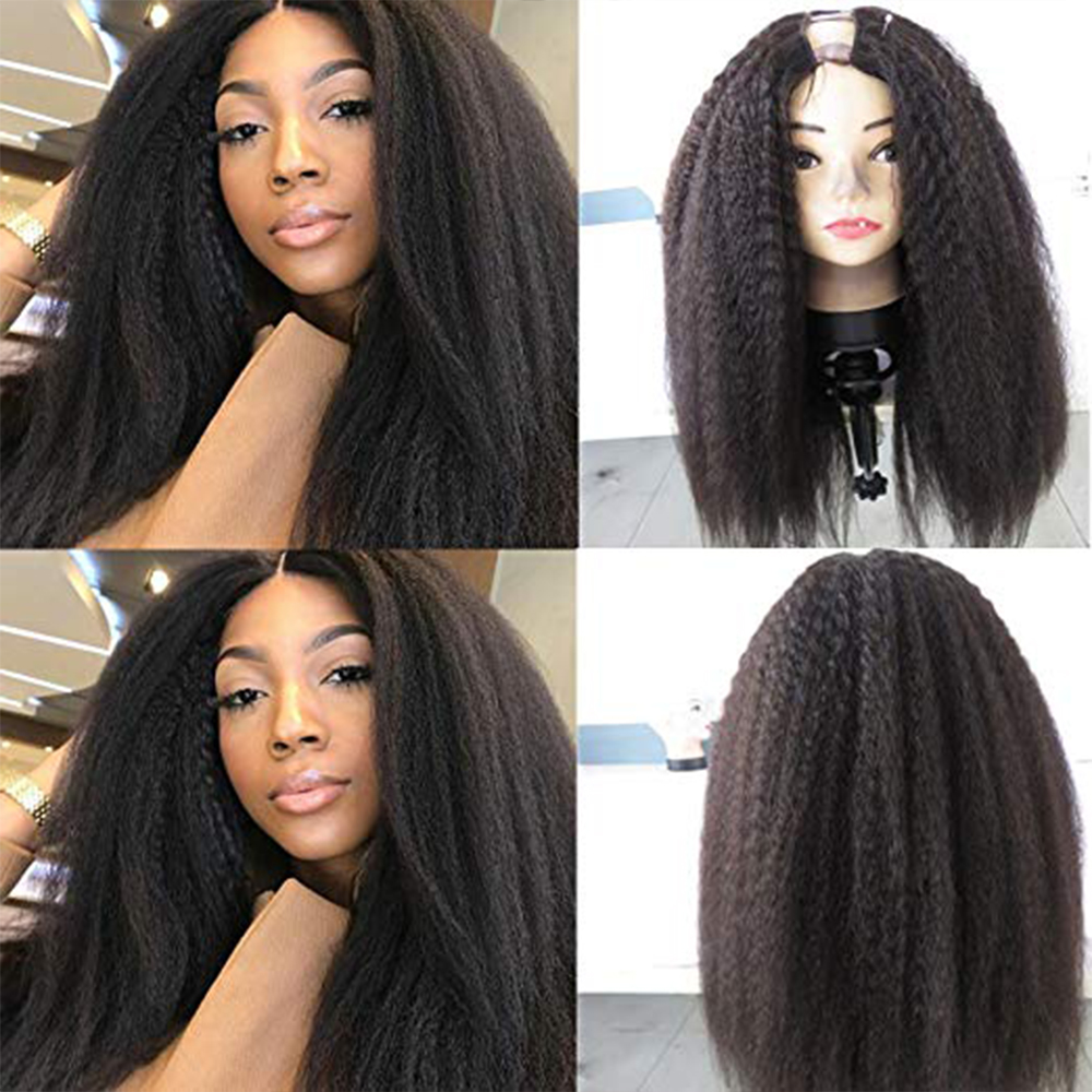 Simbeauty 100% Human Hair 100% Unprocessed Brazilian Remy Hair Kinky Straight U Part Wigs For Black Women Open Yaki Straight Wig