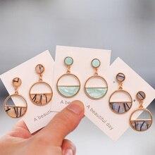 2019 nuevos pendientes de mujer de Color Metal Simple encanto hueco geométrico colgante pendientes adecuado para el regalo de amante de la joyería de invierno