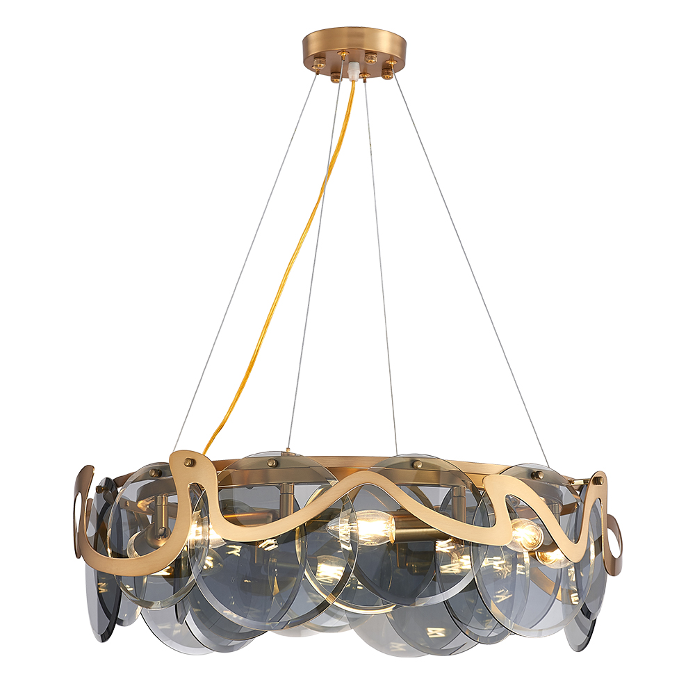 Modern Creative Annular LED Chandeliers Light With Smoky Gr Glass Shade Indoor Lighting Hanging Lamp For Living Room Lobby Hotel