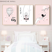 Happy Little Girl Cartoon Quote Wall Decoration Poster Canvas Painting Art Print Picture Wall Art Girl Bedroom Home Decor