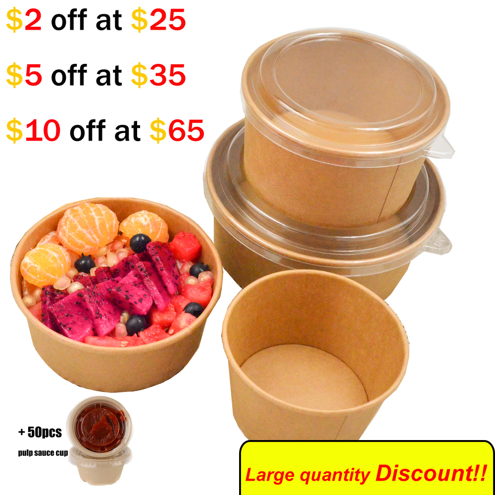 50pcs Kraft Paper Disposable Bowl Large Capacity ECO Composting Container  Water And Oil Proof Eco Takeaway Food Package.