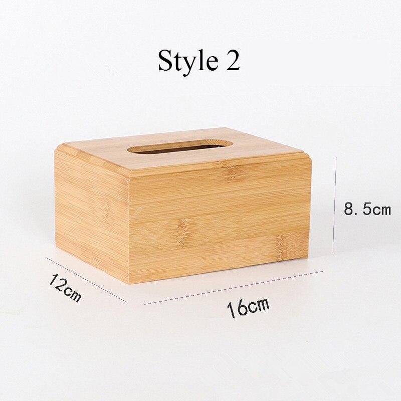 Твердая бамбуковая деревянная коробка для салфеток настольная бумага органайзер для хранения держатель для салфеток чехол украшение дома - Цвет: Style 2