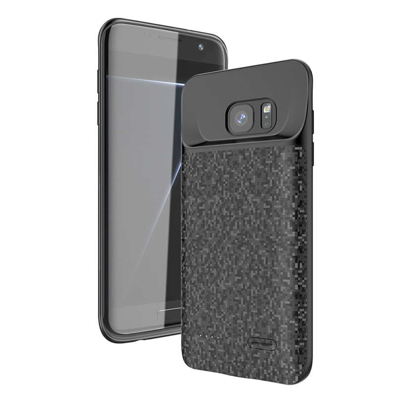 Cep telefonları ve Telekomünikasyon Ürünleri'ten Pil Şarj Kılıfları'de 4700mAh yeni kılıf için Galaxy S7 ince telefon batarya şarjı yumuşak silikon kılıf 5000mAh Samsung S7Edge güç bankası harici kılıf title=