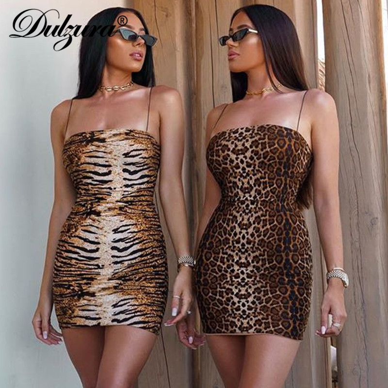 Dulzura 2019 Autumn Winter Women Mini Party Dress Leopard Tiger Print Bodycon Sexy Strap Festival Clothes Club Streetwear Dinner