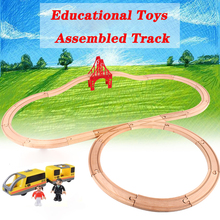Drop Kids Electric Train Toys Set Motorized Train Track Magnetic Train Diecast Slot Toy Fit for Wooden Train Track Railway electric train track set magnetic educational slot brio railway wooden train track station puzzles car toys for kids children
