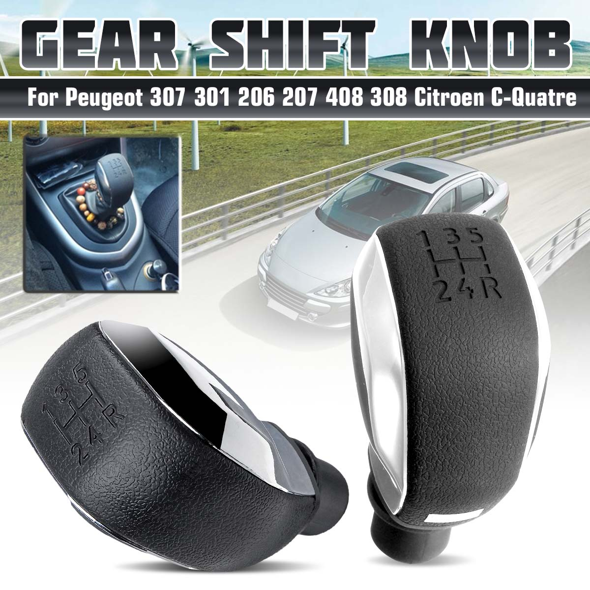 MT 5 Speed Gear Shift Knob For Peugeot 306 307 301 206 207 408 308 508 2008 C4L C2 For Citroen C-Quatre C-Triomphe Elysee