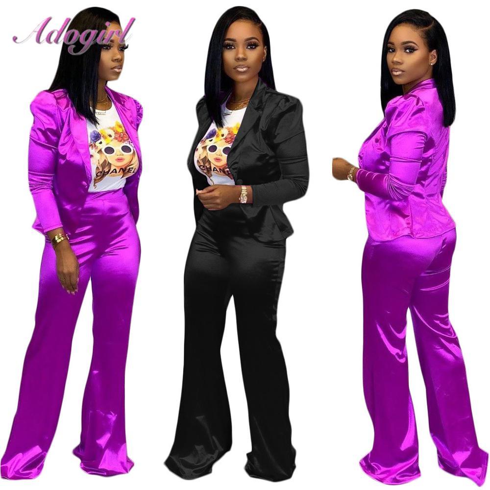 Women Blazer Set Casual Long Sleeve V Neck Short Blazer Jacket Coat Wide Leg Pants Two Piece Set Winter Outfit Office Lady Suit
