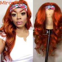 Laranja gengibre cor destaque onda do corpo bandana peruca perucas de cabelo humano para preto feminino brasileiro 100% remy glueless cachecol peruca