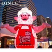 Custom Giant Lovely Cartoon Balloon Inflatable Pink Pig With LED Lights For Advertising