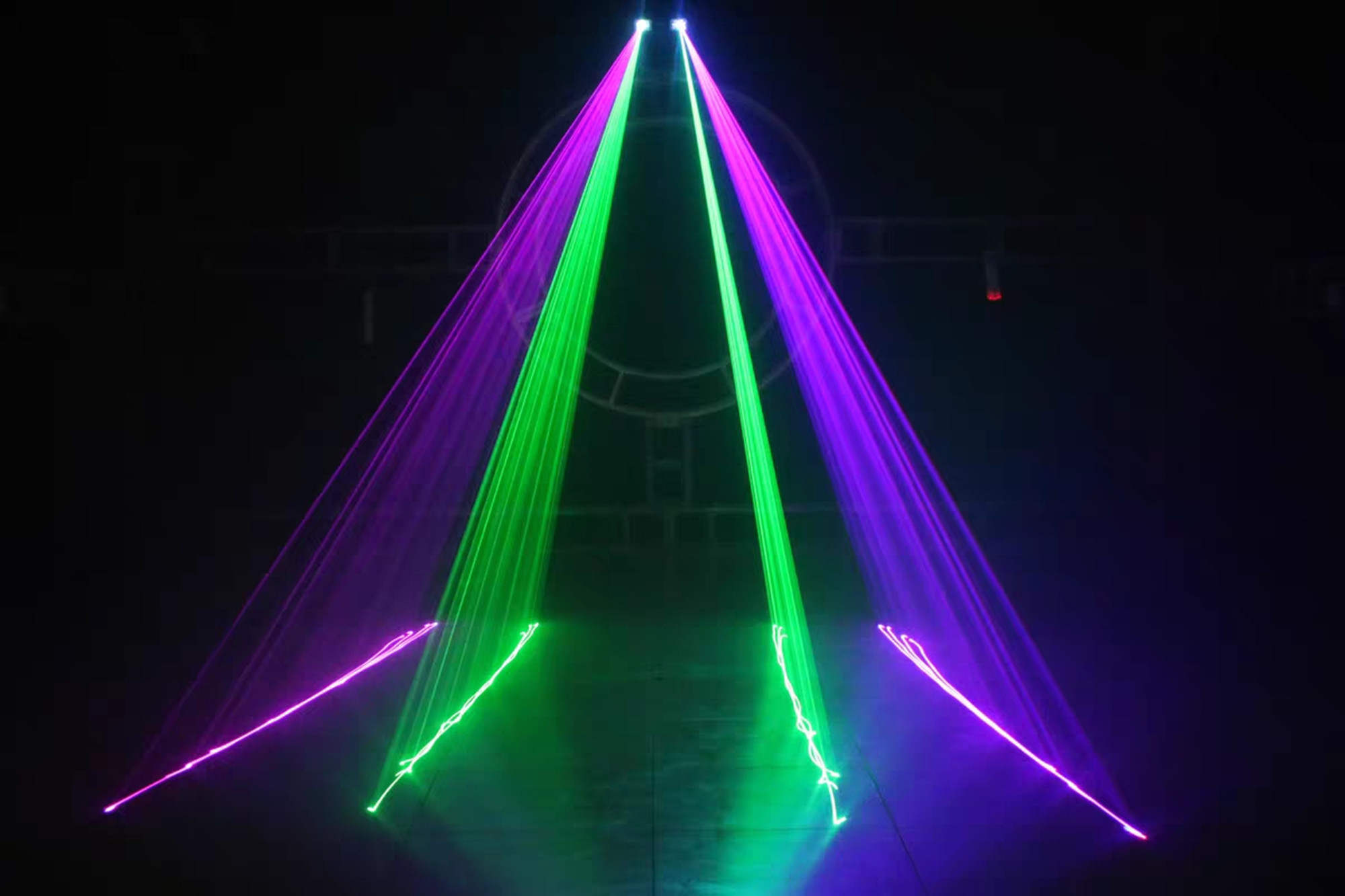H126a9ba894224213ba630a5ac7dc872df - Hot sales 2 Lens Red Green Blue RGB Beam Laser Light DMX 512 Professional DJ Party Show Club Holiday Home Bar Stage Lighting